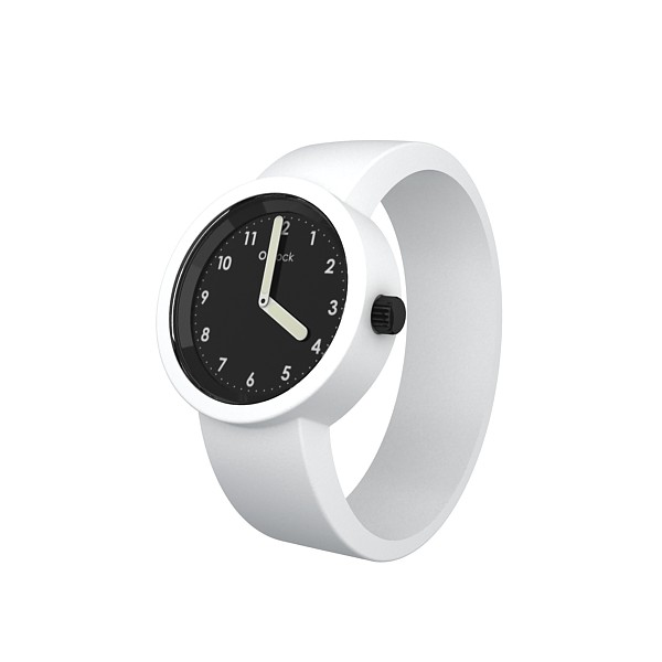 Numbers Black Dial-White Strap