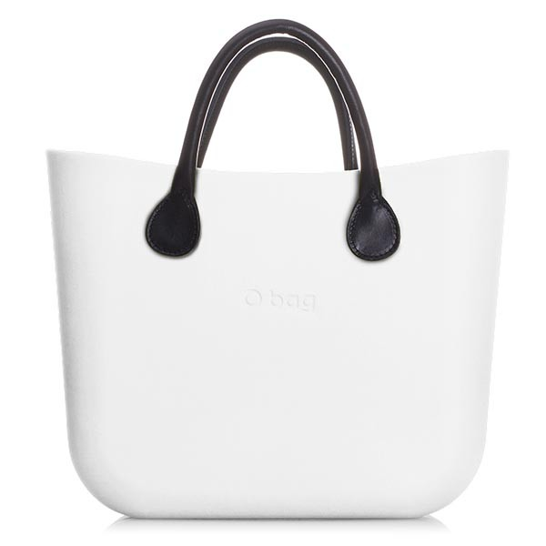 O Bag Mini White Leather Black